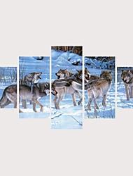 abordables -Imprimé Impressions sur toile roulées Impression sur Toile - Animaux Rusé Contemporain Moderne Cinq Panneaux