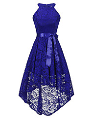 1e3cf303e8 Solid Colored Lace Dresses Women s Vintage Elegant Sheath Swing Trumpet    Mermaid Dress - Solid Colored Lace Bow Navy Blue Wine Royal Blue L XL XXL