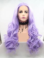 저렴한 -합성 레이스 프론트 가발 물결 스타일 레이어드 헤어컷 전면 레이스 가발 퍼플 퍼플 인조 합성 헤어 24 인치 여성용 여성 퍼플 가발 긴 Sylvia 130 % 인간의 머리카락 밀도