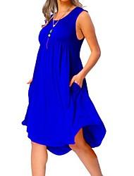 cheap -Women's Basic Swing Dress - Solid Colored Patchwork Gray Wine Army Green XXXXL XXXXXL XXXXXXL