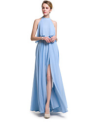 cheap -A-Line Halter Neck Chiffon Bridesmaid Dress with Ruffles by LAN TING Express