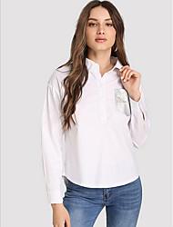 billiga -Enfärgad Skjorta Dam Tröjkrage