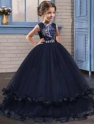 cheap -Princess Long Length Flower Girl Dress - Lace / Tulle Sleeveless Jewel Neck with Crystals / Embroidery by LAN TING Express