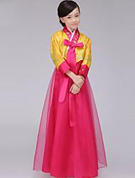 billige -Hanbokpike Barne Jente Asiatisk Tradisjonell koreansk Jeogori Hanbok Magoja Til Ytelse Forlovelsesfest Utdrikningslag Bomull Lang Lengde Skjørte