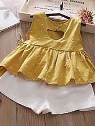 זול -סט של בגדים ללא שרוולים מנוקד בנות ילדים