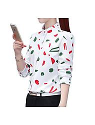 baratos -Mulheres Camisa Social Geométrica Colarinho de Camisa Delgado