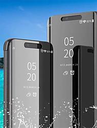 Недорогие -Кейс для Назначение Huawei Huawei P20 / Huawei P20 Pro / Huawei P20 lite со стендом / Покрытие / Зеркальная поверхность Чехол Однотонный Твердый Кожа PU / P10 Plus / P10 Lite / P10