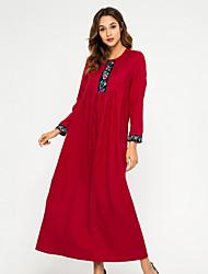 preiswerte -Damen Elegant Swing Kleid - Patchwork, Solide Maxi