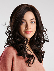 cheap -Synthetic Wig / Synthetic Lace Front Wig Bouncy Curl Brown Side Part Brown 130% Density Synthetic Hair 20 inch Women's Synthetic / Comfortable / Natural Hairline Brown Wig Medium Length Lace Front