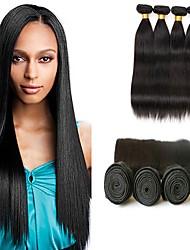 voordelige -4 bundels Braziliaans haar Natuurlijk recht Mensen Remy Haar Menselijk haar weeft Verlenging Bundle Hair 8-28inch Natuurlijke Kleur Menselijk haar weeft Cosplay Zacht Dansen Extensions van echt haar