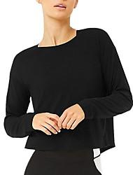 hesapli -Kadın ab / us boyut ince gömlek - düz renkli yuvarlak boyun