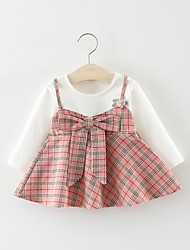 Χαμηλού Κόστους -Μωρό Κοριτσίστικα Βασικό Μονόχρωμο / Καρό Patchwork Μακρυμάνικο Πάνω από το Γόνατο Βαμβάκι Φόρεμα Ανθισμένο Ροζ