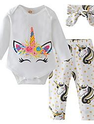 お買い得  -赤ちゃん 女の子 ストリートファッション プリント 長袖 レギュラー ポリエステル アンサンブル ホワイト