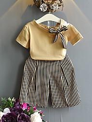 זול -סט של בגדים שרוולים קצרים פסים בנות ילדים