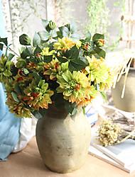 abordables -Flores Artificiales 1 Rama Clásico Europeo Flores eternas Flor de Mesa