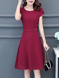 abordables -Mujer Sofisticado Elegante Recto Vestido - Plisado, Un Color Animal Hasta la Rodilla