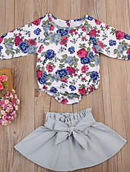 זול -סט של בגדים שרוול ארוך פרחוני בנות תִינוֹק