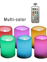 Недорогие -6шт LED Night Light / Беспламенные свечи RGB + теплый Батарея с батарейкой Безопасность / Простота транспортировки / Атмосферная лампа
