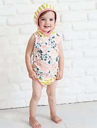 billige -Baby Jente Aktiv / Grunnleggende Stripet / Blomstret Trykt mønster Ermeløs Normal Normal Bomull / Polyester Tøysett Gul