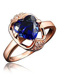 billige -Dame Klar Kvadratisk Zirconium Klassisk Ring Forlovelsesring 18K Guldbelagt Simuleret diamant Hjerte Stilfuld Luksus Romantik Mode Elegant Moderinge Smykker Rød / Blå / Gennemsigtig Til Fest