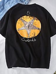 お買い得  -メンズeu / usサイズTシャツ - 幾何学的なラウンドネック