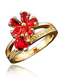 billige -Dame Klar Kvadratisk Zirconium Klassisk Ring Forlovelsesring 18K Guldbelagt Simuleret diamant Blomst Stilfuld Luksus Romantik Mode Elegant Moderinge Smykker Rød / Blå / Gennemsigtig Til Fest