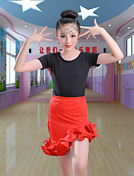 ราคาถูก -ชุดเต้นละติน / ชุดเต้นสำหรับเด็ก Outfits เด็กผู้หญิง การฝึกอบรม / Performance เส้นใยสังเคราะห์ / สแปนเด็กซ์ ระบาย Cascading แขนสั้น กระโปรง / Top