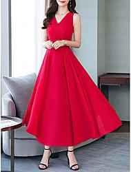 저렴한 -여성용 보호 쉬폰 드레스 - 솔리드 맥시
