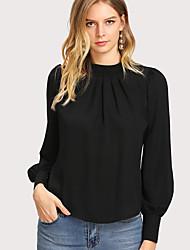 baratos -blusa slim tamanho eu / us para mulher - decote redondo em cor sólida