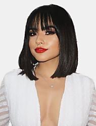 Χαμηλού Κόστους -Ανθρώπινες περούκες περούκες μαλλιών Φυσικά μαλλιά Φυσικό ευθεία Κούρεμα καρέ Μοδάτο Σχέδιο / Hot Πώληση / Άνετο Μαύρο Μεσαίο Χωρίς κάλυμμα Περούκα Γυναικεία / Φυσική γραμμή των μαλλιών