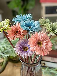 Χαμηλού Κόστους -Ψεύτικα λουλούδια 5 Κλαδί Κλασσικό Γάμος Ποιμενικό Στυλ Μαργαρίτες Χρυσάνθεμο Αιώνια Λουλούδια Λουλούδι για Τραπέζι