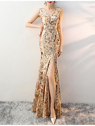 cheap -Mermaid / Trumpet V Neck Floor Length Tulle / Sequined Dress with Sequin / Embroidery by LAN TING Express