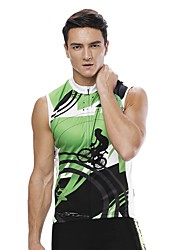 お買い得  -ILPALADINO 男性用 ノースリーブ サイクリングジャージー - グリーン バイク ジャージー UV耐性 スポーツ ポリエステル100% 衣類