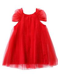 お買い得  -子供 女の子 ベーシック / かわいいスタイル ソリッド メッシュ 半袖 膝上 コットン / ポリエステル ドレス ルビーレッド
