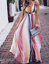 cheap -Women's Boho Elegant Chiffon Swing Dress - Striped Color Block Print Pink M L XL