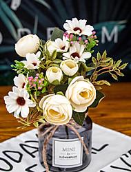 رخيصةأون -زهور اصطناعية 2 فرع كلاسيكي دعامات النمط الرعوي Camellia الزهور الخالدة أزهار الطاولة