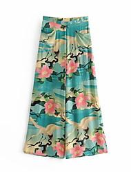 cheap -Women's Street chic Wide Leg Pants - Floral Blue