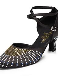 954de8e12b80 cheap Modern Shoes-Women  039 s Modern Shoes Satin Heel Rhinestone Cuban  Heel