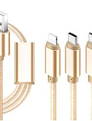 Недорогие -Micro USB / Подсветка / Type-C Кабель 1m-1.99m / 3ft-6ft Все в одном / Плетение / От 1 до 3 текстильный Адаптер USB-кабеля Назначение iPad / Samsung / Huawei