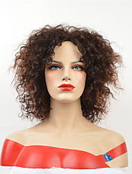 olcso -Szintetikus parókák Göndör Barna Aszimmetrikus frizura közepes Auburn Szintetikus haj 12 hüvelyk Női Parti Barna Paróka Rövid Sapka nélküli