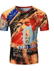 baratos -Homens Camiseta Geométrica Decote Redondo