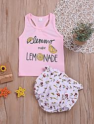 voordelige -Baby Meisjes Actief / Standaard Print / Fruit Print Mouwloos Normaal Normaal Katoen Kledingset Blozend Roze