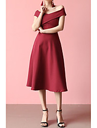 cheap -A-Line Off Shoulder Midi Chiffon Bridesmaid Dress with Pleats by LAN TING Express