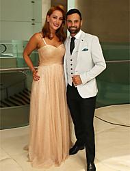 Χαμηλού Κόστους -Ίσια Γραμμή Λεπτές Τιράντες Ουρά Τούλι / Με πούλιες Επίσημο Βραδινό Φόρεμα με Πούλιες με TS Couture®