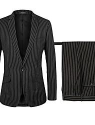 billiga -Svart Randig Standardpassform polyster Kostym - Trubbig Singelknäppt 1 Knapp / kostymer