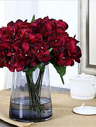 abordables -Fleurs artificielles 6 Une succursale Classique Européen Style Simple Hortensias Fleurs éternelles Fleur de Table