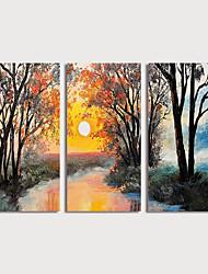 cheap -Oil Painting Hand Painted - Landscape Modern Stretched Canvas / Three Panels