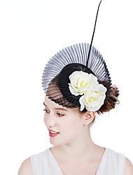 ราคาถูก -เส้นใยไนลอน / Flax fascinators / ดอกไม้ / เครื่องสวมศรีษะ กับ ขนนก / ดอกไม้ 1 ชิ้น งานแต่งงาน / งานปาร์ตี้ / งานราตรี หูฟัง