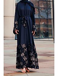 cheap -Women's Boho Elegant Abaya Jalabiya Dress - Floral Lace Lace up Embroidered Navy Blue Wine L XL XXL