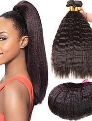 abordables -Lot de 4 Cheveux Brésiliens Droit crépu Cheveux Naturel Rémy Tissages de cheveux humains Bundle cheveux One Pack Solution 8-28 pouce Couleur naturelle Tissages de cheveux humains Sans odeur Doux
